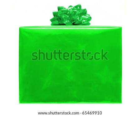 Single bright green Christmas gift box with bow - stock photo