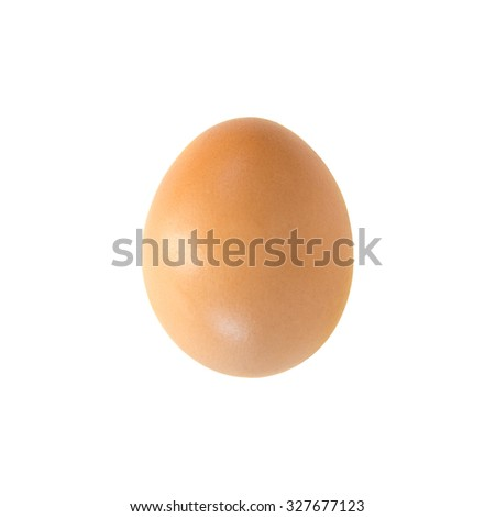 Single brown chicken egg isolated on white - stock photo