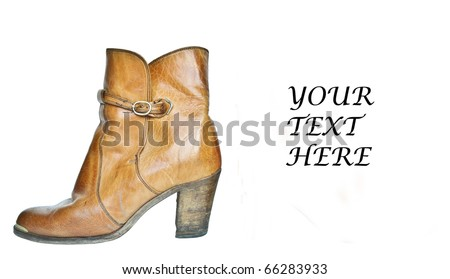 Single brown cowboy boot with space for text - stock photo