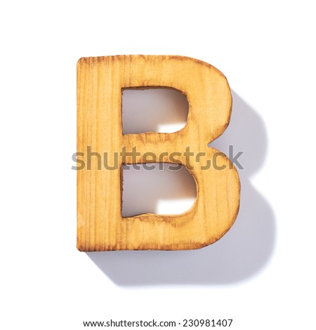 Single brown wooden B letter with 45 degree long shadow as a real life flat design font, isolated over the white background - stock photo