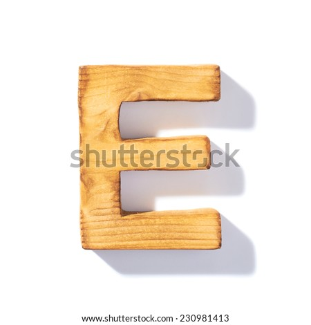 Single brown wooden E letter with 45 degree long shadow as a real life flat design font, isolated over the white background - stock photo