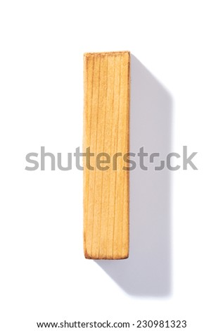 Single brown wooden I letter with 45 degree long shadow as a real life flat design font, isolated over the white background - stock photo