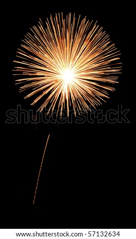 Single burst of yellowish-orange fireworks with thin rocket trail - stock photo