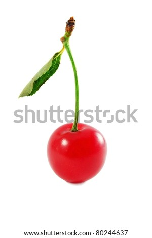single cherry with leaf isolated on white - stock photo