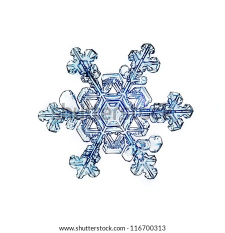Single Christmas pattern, natural snowflake, crystal water, isolated on a black / white background - stock photo