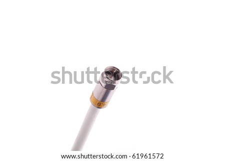 Single coaxial cable with connector. Isolated on white. - stock photo