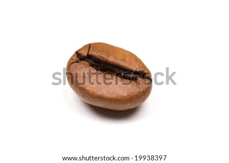 Single Coffee bean isolated on white background. landscape orientation. - stock photo