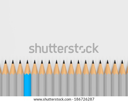 single color pencil stand out of the crowd - stock photo