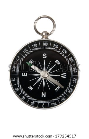 Single compass black on white background - stock photo