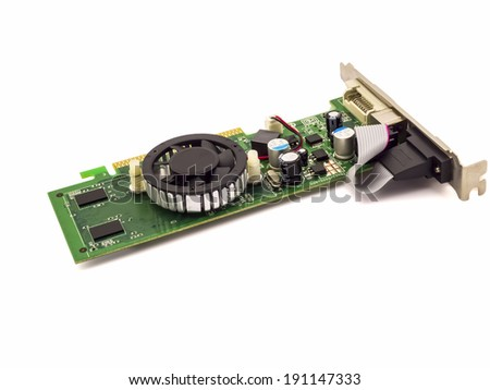 Single computer videocard isolated on white background with  shadow  - stock photo