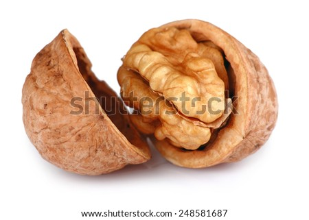 Single Cracked Walnut isolated on white background - stock photo