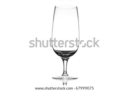 Single crystal beer glass over white background - stock photo