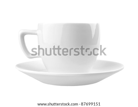 Single cup on white background - stock photo