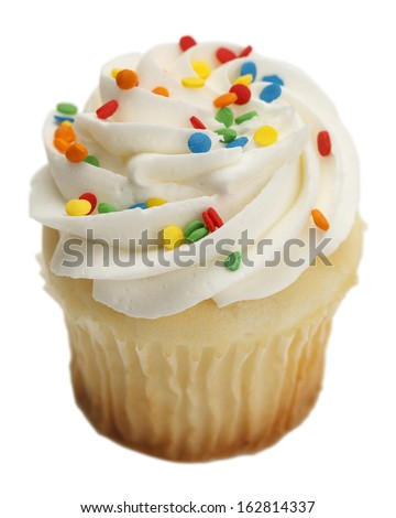 Single Cupcake with White Frosting and Sprinkles Isolated On White Background. - stock photo