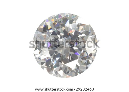 Single diamond isolated on white - stock photo