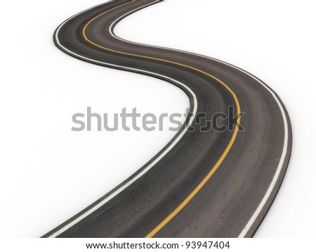 Single Empty Road - stock photo