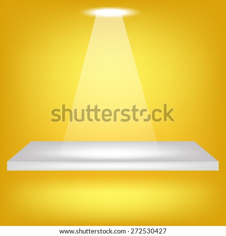 Single Empty Shelf  on Yellow Background. Spotlight Illuminated the Empty Shelf. - stock photo