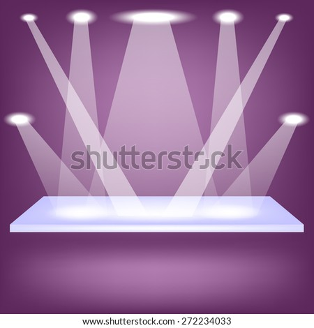 Single Empy Shelf Isolated on Purple Background - stock photo