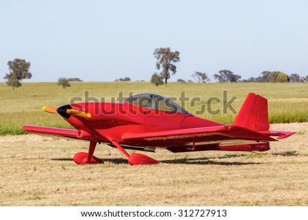 Single engine light aircraft - stock photo