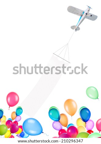 Single engine plane with banner and balloons isolated on a white background - stock photo