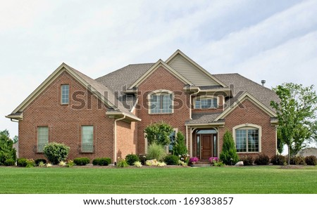 Single Family Brick Home - stock photo