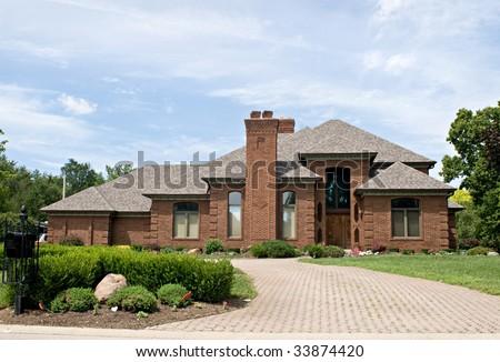 Single Family Brick Home - stock photo