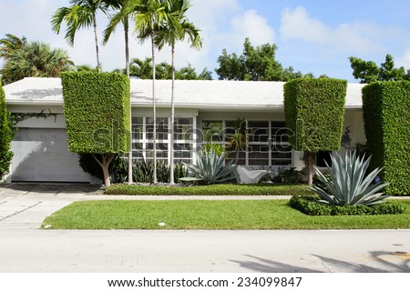 Single family home with landscaping - stock photo