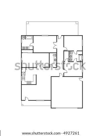 Single family floor house plan stock photos single family for Single family house plans