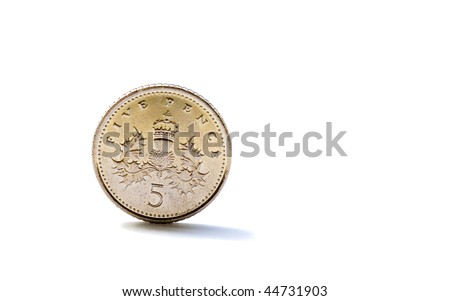 Single five British pence coin isolated on white background - stock photo