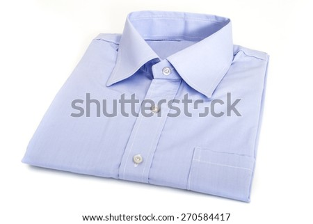 Single Folded and Ironed Male Shirt with a Collar and Buttons, Isolated on White Background - stock photo