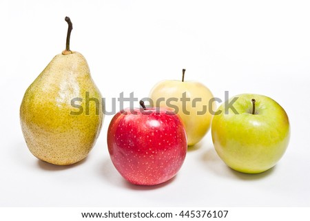 Single fresh green pears and three apples in red, yellow and green color. Group of juicy ripe fruits.  Isolated on white background. - stock photo