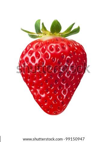 single fresh red strawberry isolated on white background - stock photo