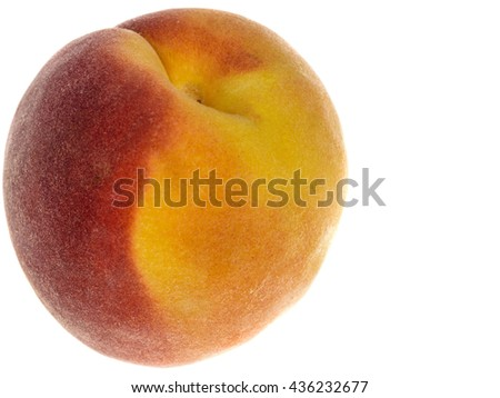 Single Fresh Ripe Healthy Eating Juicy Peach Isolated Against A White Background With Copy Space - stock photo