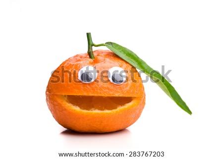 Single Friendly Mandarine - stock photo