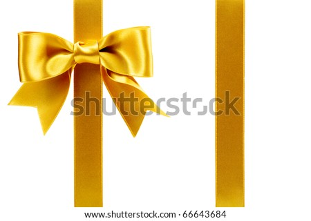 single gift bow, golden satin, with two ribbons isolated on white - stock photo