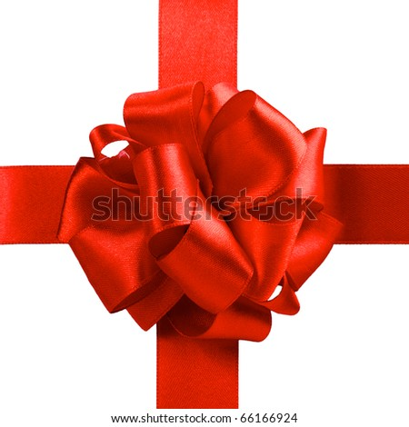 single gift bow, red satin, with one cross ribbon isolated on white - stock photo