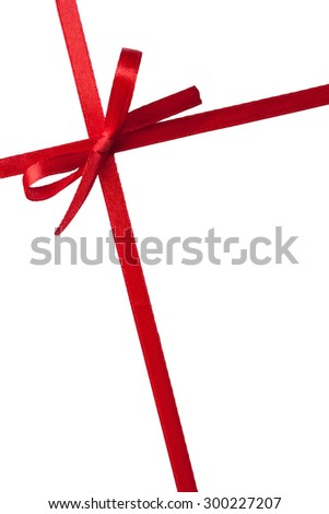 single gift bow,red satin, with two cross ribbons isolated on white - stock photo
