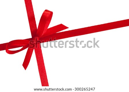 single gift bow, red satin, with two cross ribbons isolated on white - stock photo