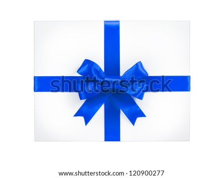 Single gift box with blue ribbon end a bow on white background. - stock photo