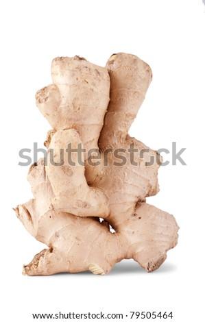 Single ginger isolated on white background - stock photo