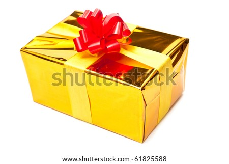 Single golden gift box with ribbon. Isolated on white - stock photo