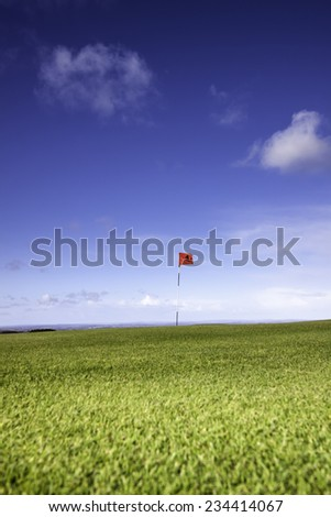 Single golf flag on the horizon on a beautiful day - stock photo