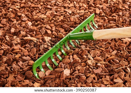 Single green painted garden rake with thick tines over red colored wood chip mulch on ground - stock photo