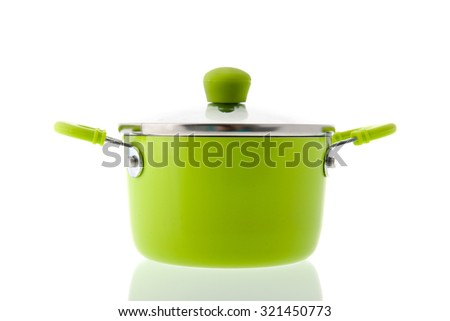 Single green pot for cooking isolated over white background - stock photo