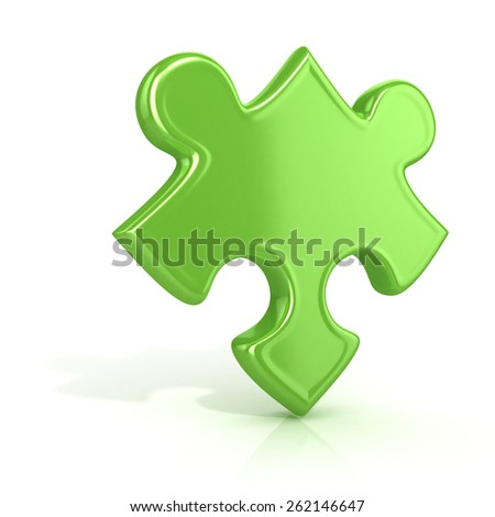 Single, green, standing jigsaw puzzle piece. 3D render icon isolated on white background. Unusual angle - stock photo