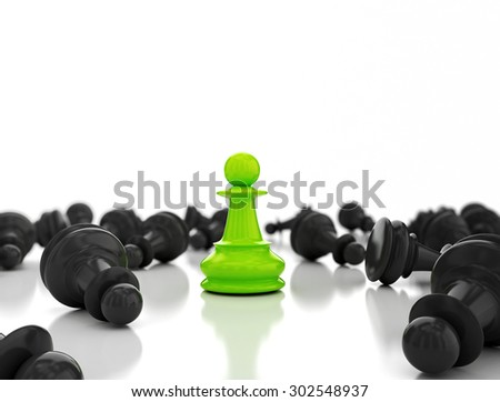 Single greenpawn. Last one standing Business strategy concept background  - stock photo