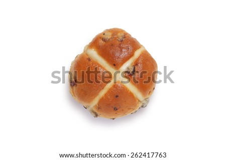 Single hot cross bun shot from above isolated on white background with clipping path - stock photo