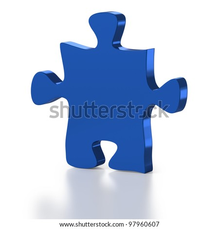 Single Jigsaw Puzzle Piece on a white Background - stock photo