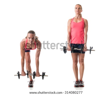 Single-leg deadlift exercise. Studio shot over white. - stock photo