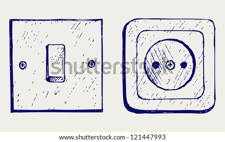 Single light switch and socket. Doodle style. Raster version - stock photo